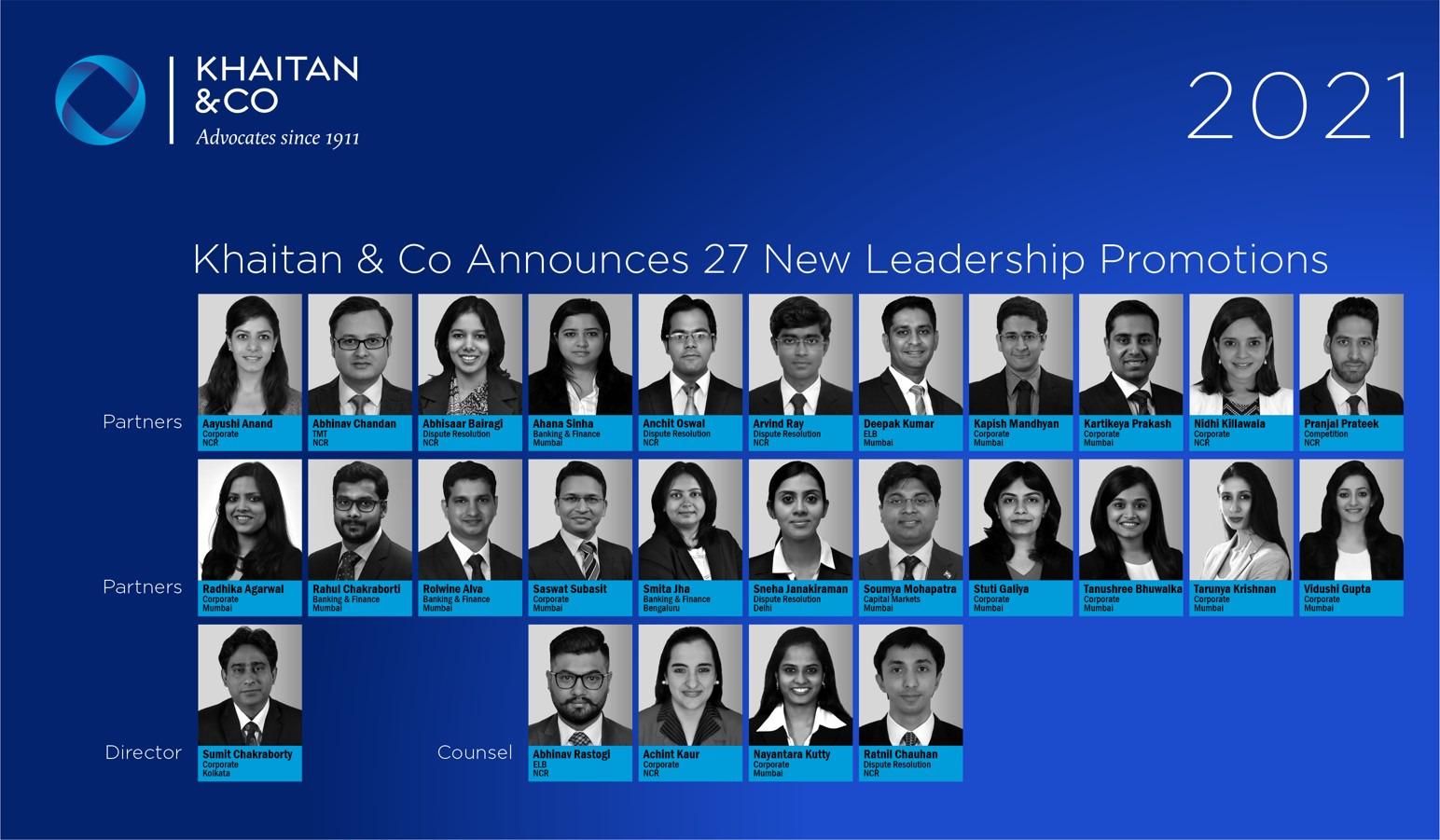 Khaitan & Co Announces 27 New Leadership Promotions